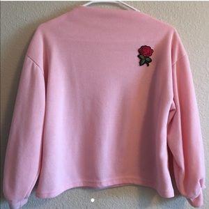 pink lantern sleeve sweatshirt